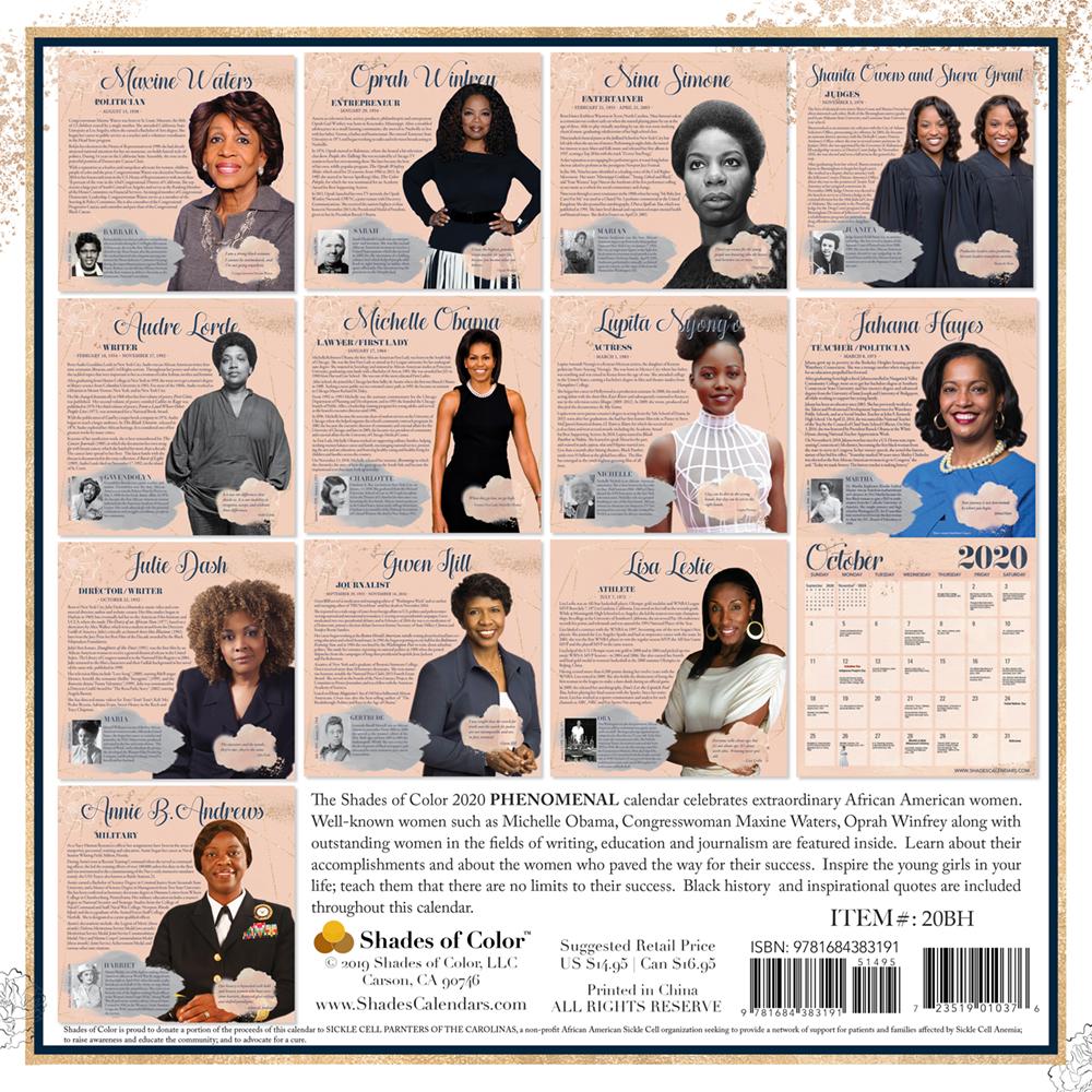 Black History Calendar 2020 Phenomenal Woman 2020 Black History Calendar